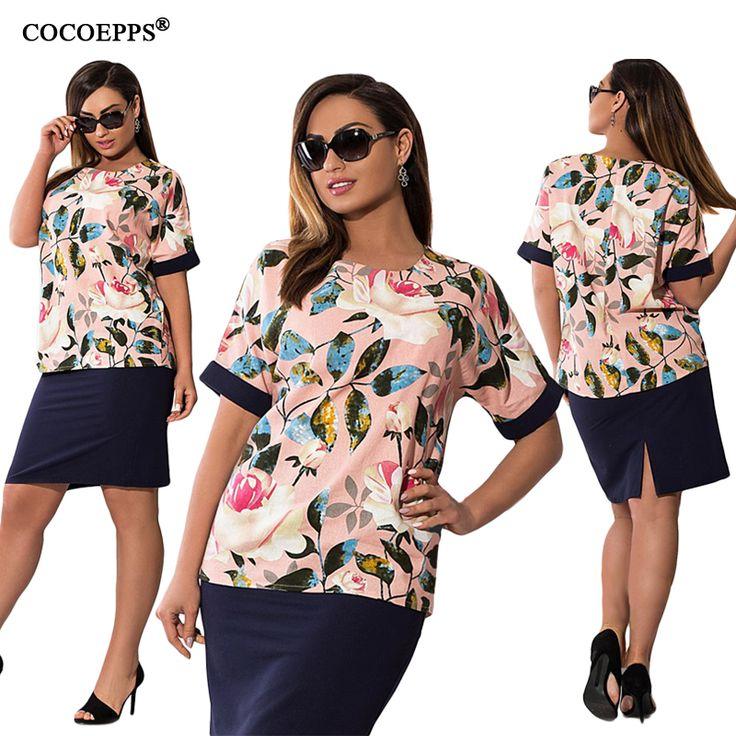 Cocoepps летние цветочные печати женщины платья 2017 большой размер элегантный 2 шт. набор dress плюс размер коротким рукавом лоскутная vestidos 6XL