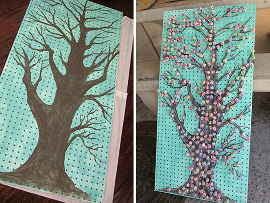 Painted pegboard lollipop tree
