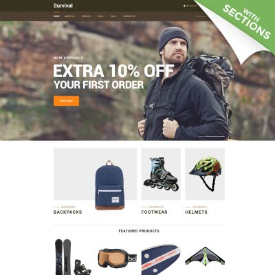 Shopify Template for Survival - Travel Equipment Website
