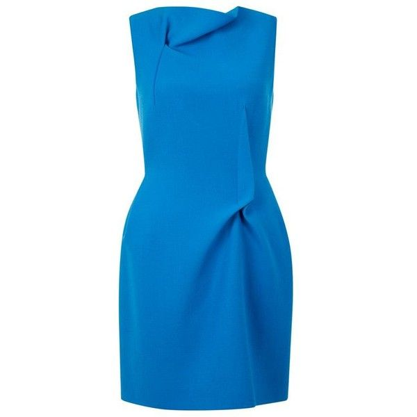 Roland Mouret Zonda Tuck Dress ($1,125) ❤ liked on Polyvore featuring dresses, high neckline dress, blue dress, going out dresses, high neck party dress and blue high neck dress