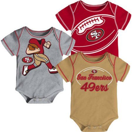 NFL, Team: 49ERS ,NB/INF 3 Pack Creepers, Team Color/Grey/Alternate Team Color, Assorted