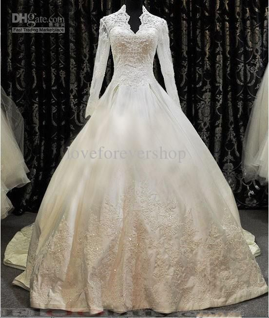 2013 High Neck Long Sleeve Zippered Button Beaded Appliques Ruffles Satin Floor Length Chapel Train Cathedral A-Line Muslim Wedding Dresses