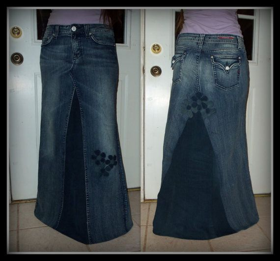 Custom Order two tone Long jean skirt with added flower detail to your size made on order PLUS SIZE