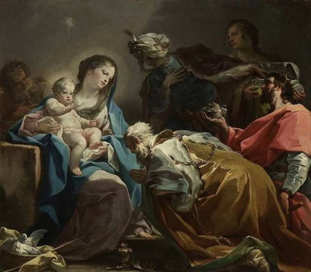 """""""Álom, álom… Betlehemben Kicsike Jézus megszületett. Szép Szűz Mária, egek ékessége, Mi bűnös lelkünk egy édessége Csókkal hajol a jászolka tövébe, Kicsi Jézuskára rájanevet…""""   Sík Sándor   Corrado Giaquinto (1703-1765): Adoration of the Magi (c.1740-49)"""