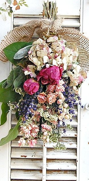 Dried Flower Bouquet Dried Flower Arrangement with Dried Roses , Peonies, Farmhouse Decor. $20.00, via Etsy.