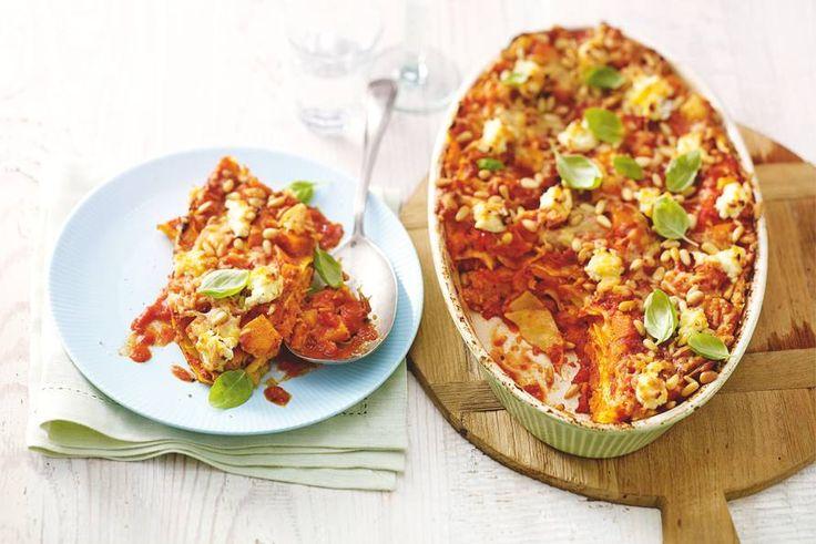 Deze lasagne staat in 20 min. in de oven, want de pompoen is al gesneden - Recept - Allerhande