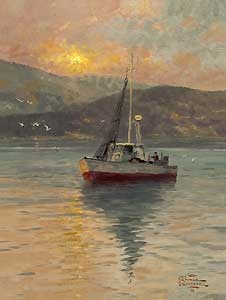 Sunrise - Sea of Galilee - Thomas Kinkade - World-Wide-Art.com - $720.00 #Kinkade