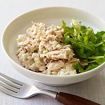 Weight Watchers Tuna Salad - 4 pp.  (I added a tsp of relish and 1 tbsp or less of spicy brown mustard) served on sandwich thins - delish!!!
