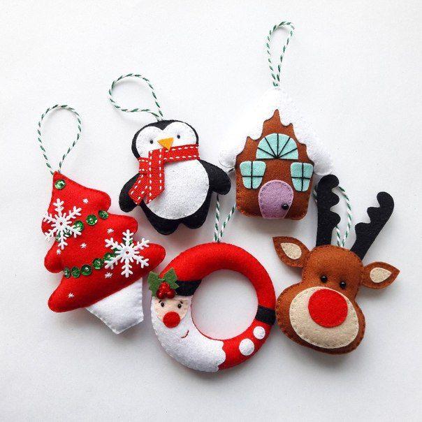 Felt art Christmas holiday ornaments ideas ~ penguin, deer, tree, Santa, Rudolph reindeer. Fieltro Navidad.