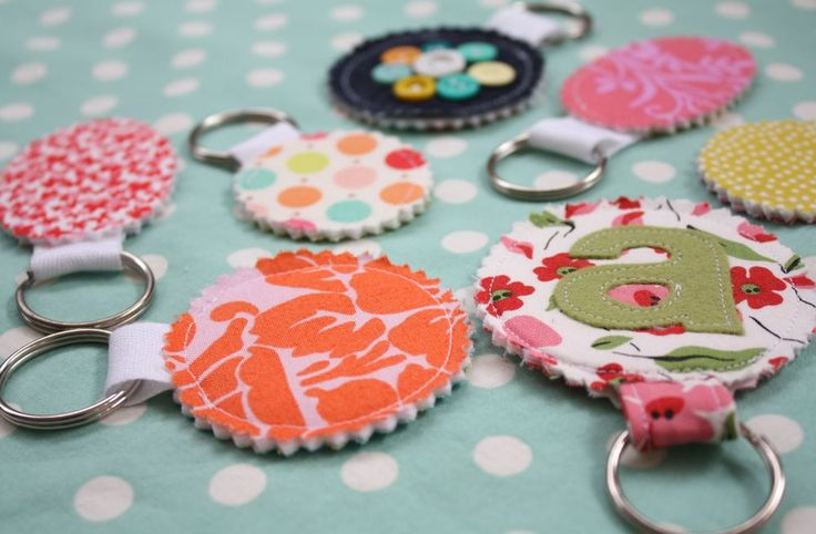 Fabric Scrap Keychains...thinking about what Stampin' Up! Big Shot dies to try ~ Great use of scraps and a great hostess gift!