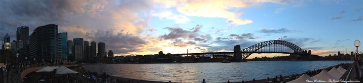 Sunset over Sydney Harbour.