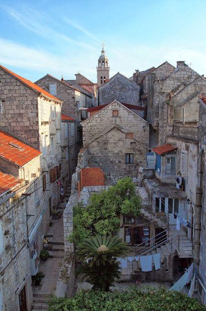 Looking back at the bell tower, Korčula, Croatia. Korčula is an island in the Adriatic Sea, in the Dubrovnik-Neretva County of Croatia.