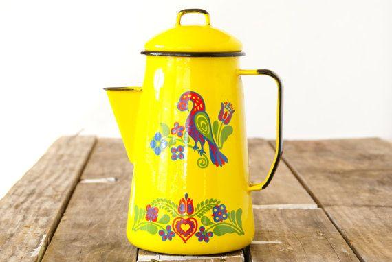 Yellow Metal Enamel Coffee Pot // Cinsa by Larch Trading Company