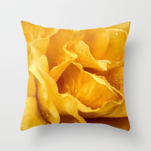 Outdoor Throw Pillow made from weather- and fade-resistant   Yellow Drops    Loredana   Society6