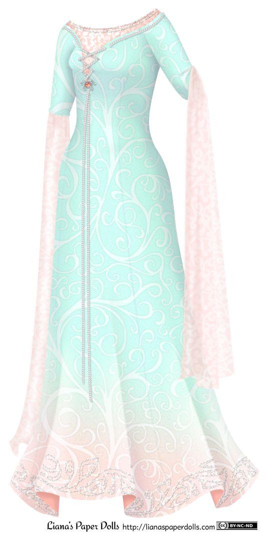 Un vestido de color aqua con mangas tres cuartos y un escote barco.  Tiene costuras princesa y está cubierto por todas partes con un patrón de desplazamiento delicado.  En la base de la falda, el color cambia a melocotón claro, y hay una plata con cuentas patrón de vid a lo largo del dobladillo.  Hay un underdress melocotón que muestra en el escote, que se extiende unos centímetros por encima de la parte superior del vestido.  El patrón de desplazamiento melocotón luz sobre ella brilla ...