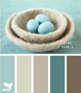 This is our color pallette.  Also, a darker blue and brown in the same family.  Duvet cover has white with these blues,  walls are the medium beige color with a shimmer.  Furniture is dark brown.