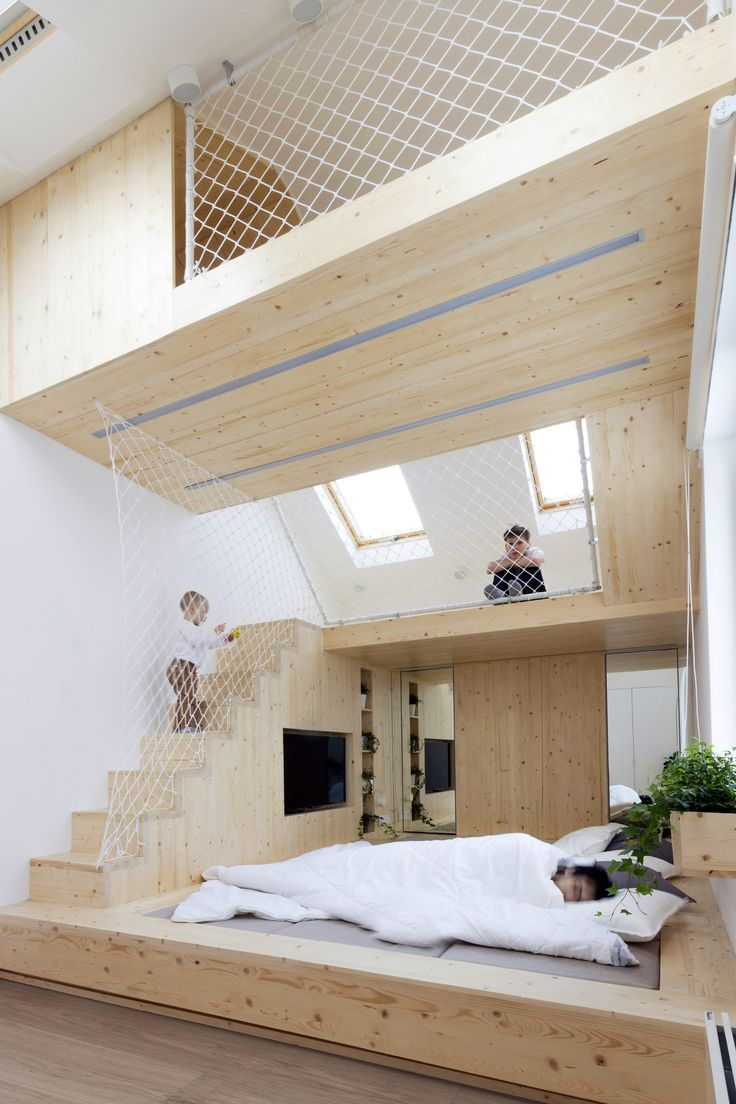 Completed in 2016 in Moscow, RussiaTwo adults and three kids spend almost every weekend at their summer house. They have a bedroom at the mansard floor. Every morning the kids join...