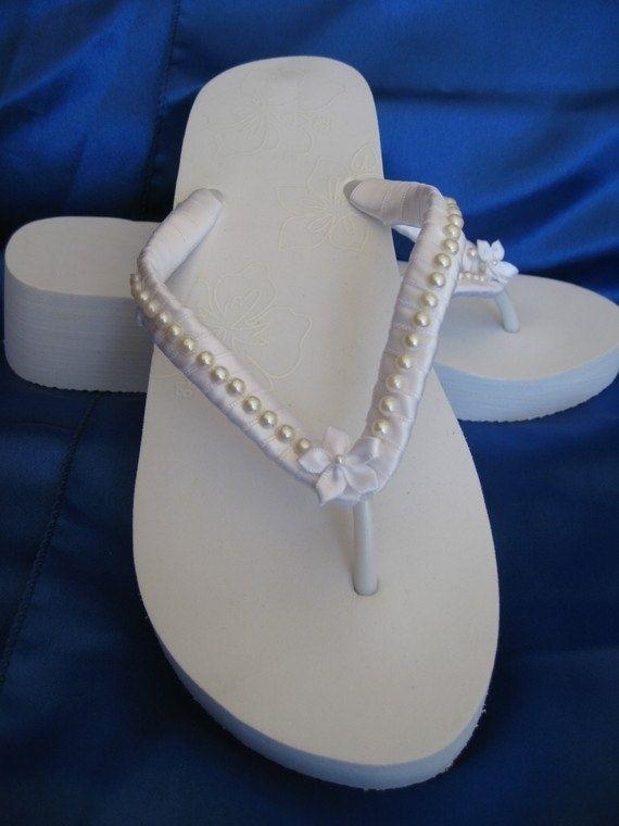 White Flip Flops or Ivory Flip Flops Bridal Flip by ABiddaBling, $29.99