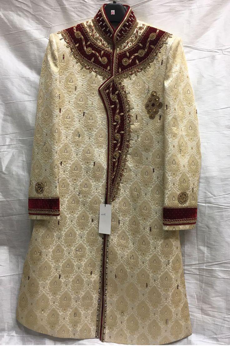 Designer Wedding Wear Creamm Sherwani 4270