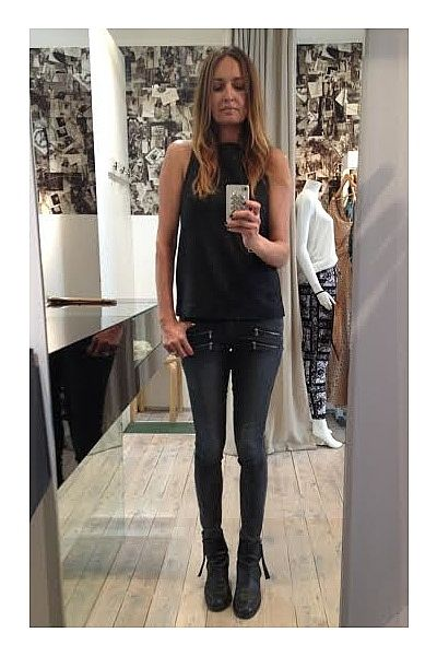 """""""Looking forward to a business lunch at Jackie's at The Intersection Paddington this afternoon and having my favourite Japanese Sashimi salad...the dressing's amazing!! Wearing black leather singlet with lace back and being a creature of habit, still loving my grey Paige Edgemont jeans and black Acne 'Pistol' boots!"""""""