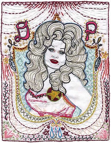 jenny hart's embroidered dolly parton.
