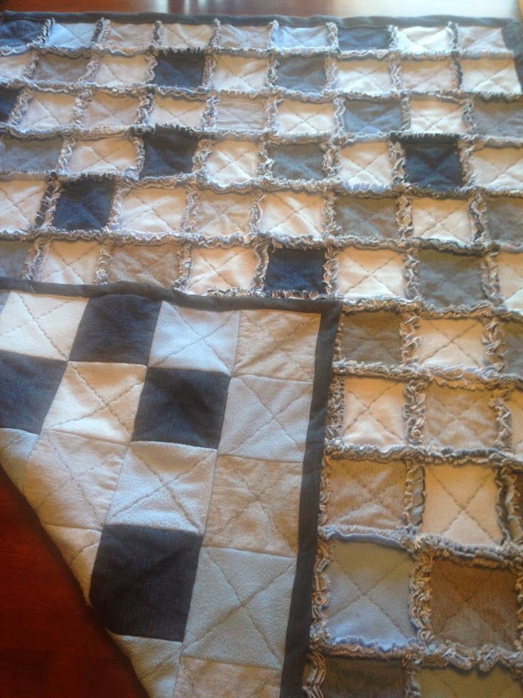 Blue Jean/Fleece-backed Rag Quilt - These rag quilts are great for outings or just cuddling on the couch.  You don't have to worry about messing them up.  Just toss in the washer when they get dirty.