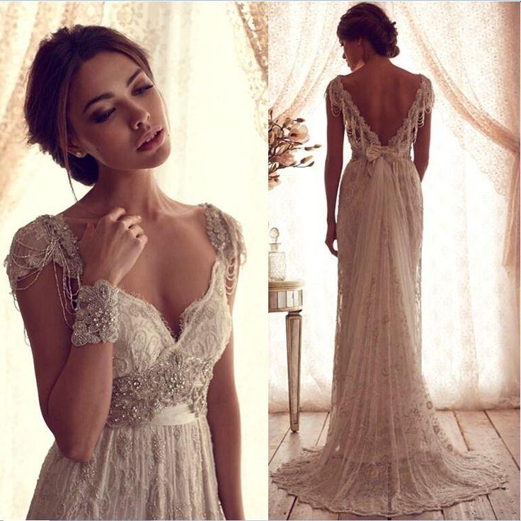 Hot Sale Anna Campbell Gossamer 2015 V Neck Sheath Wedding Dresses Portrait Tassel Beaded And Bowknot Sash Lace Court Train Vestido De Noiva