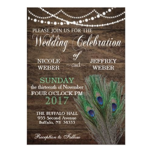 Peacock Boho Country Wood Wedding Card