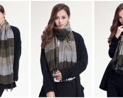 Ručne tkaný kašmírovo - bavlnený šál - vzor 04