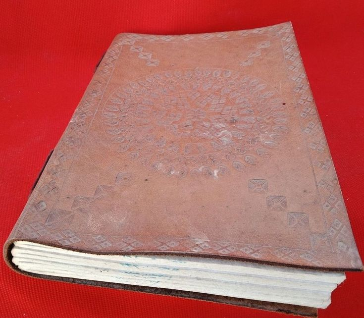Old Vintage Handmade Paper Made Beautifully Carved Leather Cover Notebook India #Handmade
