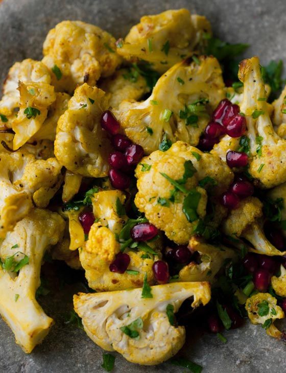 Turmeric roasted cauliflower with tahini and pomegranate - recipe by Sesame, a new cafe in Covent Garden