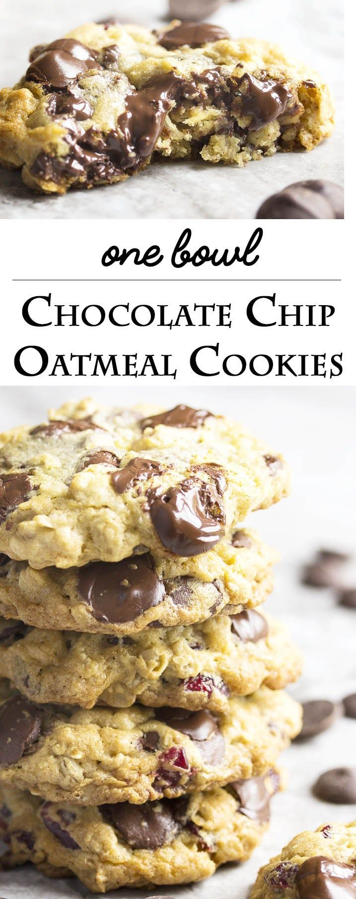 One Bowl Chocolate Cherry Oatmeal Cookies - This recipe for one bowl gooey, chocolatey, cherry studded oatmeal cookies is so easy to make that you'll want to bake them right now. And you should because they are as tasty as they are easy. | justalittlebitofb...