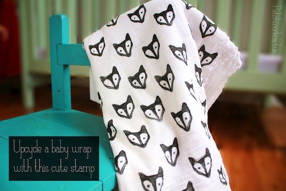 Diy baby blanket -- but this stamp technique could be used for any number of things ... tee shirts, for example ...