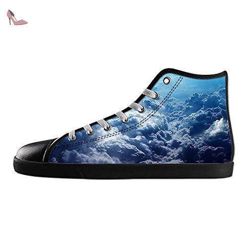 Dalliy Blue Clouds Men's Canvas Shoes Lace-up High-top Footwear Sneakers Chaussures de toile Baskets - Chaussures dalliy (*Partner-Link)