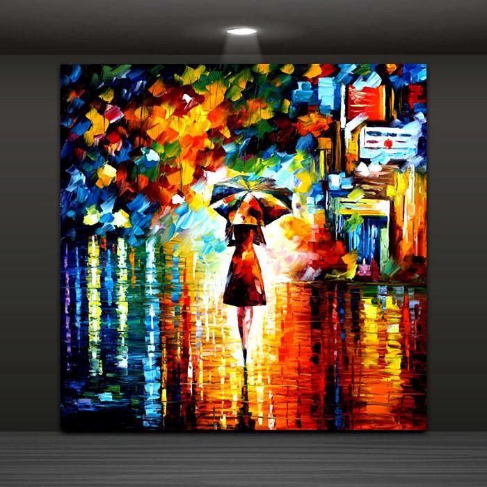 modern abstract wall painting umbrella girl in the rain home decorative art picture paint on canvas prints