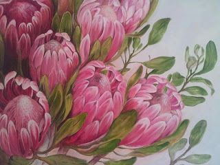 Amber's Proteas. Oil on canvas.