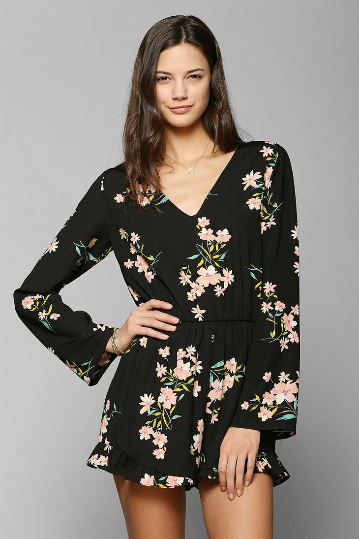 Pins And Needles Silky Ruffle-Short Romper # ...