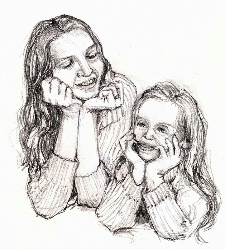 Mother and Daughter in 2020 | Pencil drawings, Drawings ...