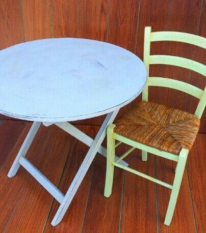 Wooden table and chair, painted distressed and patinated. Check out in previous photos its first condition.