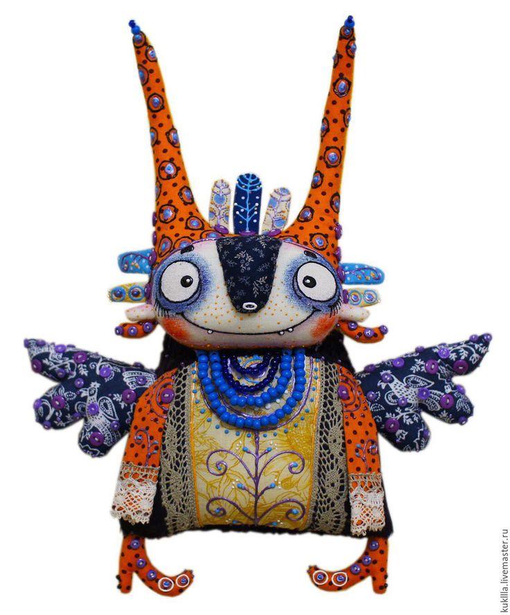 Купить Феклуша - тёмно-синий, синяя птица, птица счастья, авторская птица, авторская кукла