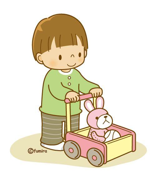 手押し車で遊ぶ子供(ソフト)