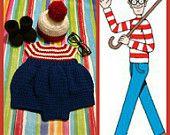 Crochet Baby Where's Waldo Costume, Waldo Costume, Baby Waldo Costume, Waldo Baby Costume, Crochet Where's Waldo hat, Waldo Hat