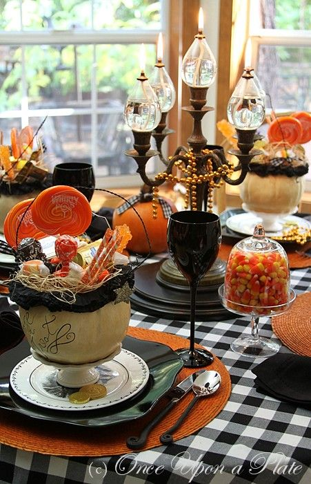 Halloween tableHalloween Parties, Halloween Decor, Tables Sets, Oil Lamps, Tables Scapes, Black And White, Candies Corn, Halloween Tablescapes, Fall Halloween