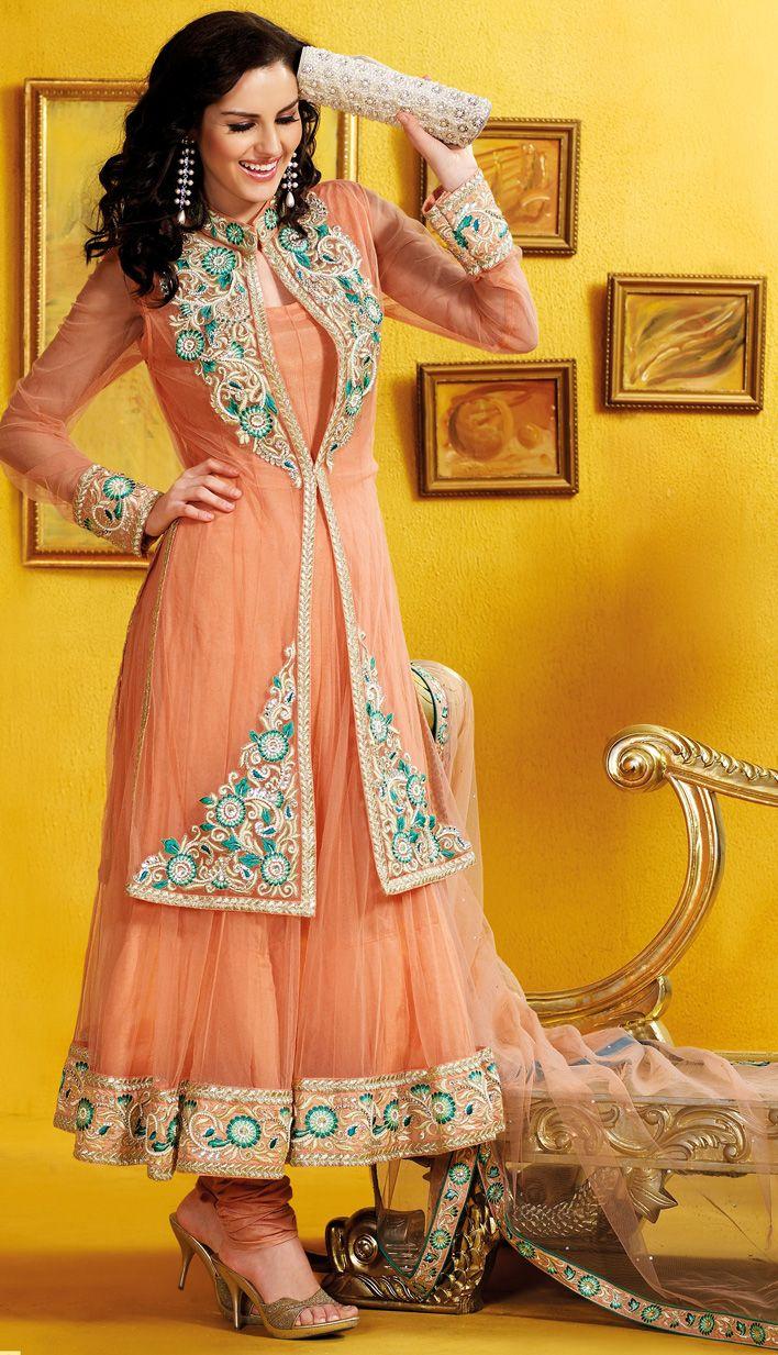 Select the Peach Color Net #AnarkaliChuridarKameez Online with Latest Fashonable Kameez.  #Price INR- 8100.47 Link-  http://alturl.com/88ffb