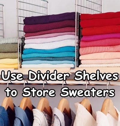 Useful Closet Organizing Tip - use the square boxes we already have on the shelf above the hangers