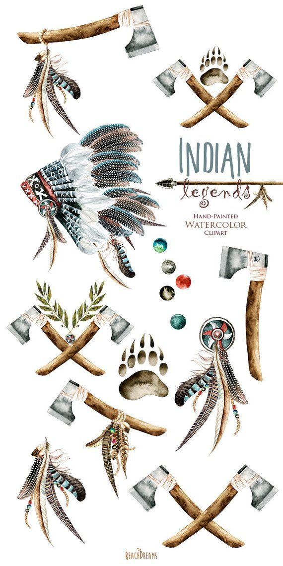 eea19dda4ef29 Indian legends. Watercolor Headdresses Clipart, Warbonnet, Indian ax, Tribal,  Feathers, Boho, Native