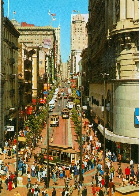 San Francisco in the 70s where the cable car was turned around to head back; Woolworth to the left is a part of history. This is now the site of a BART (Bay Area Rapid Transit) subway station.