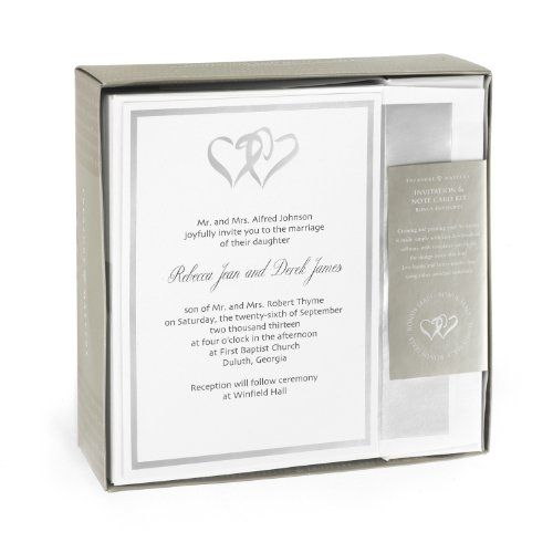 Hortense B. Hewitt Wedding Accessories Silver Double Heart Invitation Kit  Click Image Twice For More