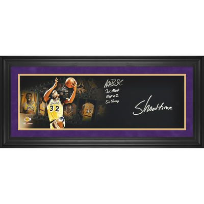 """Autographed Los Angeles Lakers Magic Johnson Fanatics Authentic Framed 10"""" x 30"""" Filmstrip Photograph with Multiple Inscriptions-Limited Edition of 32 #ad #basketball"""
