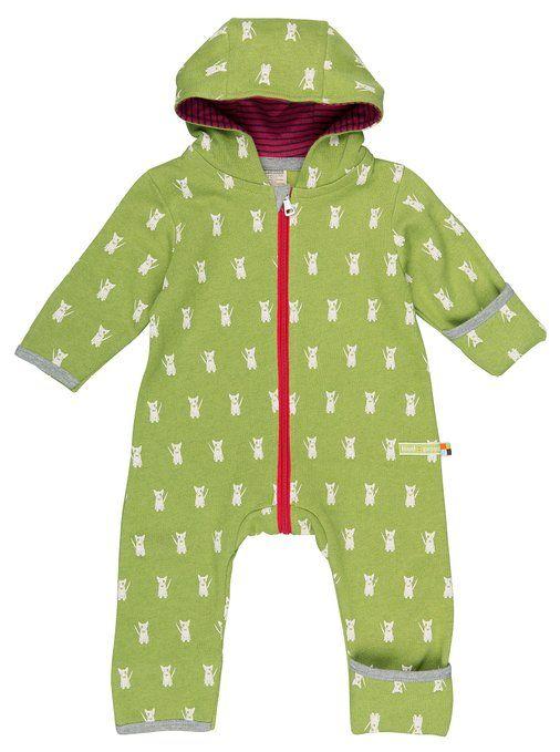 loud + proud Unisex Baby Schneeanzug Overall Woll-Anteil, Grün (Moos Mo), 68 (Herstellergröße: 62/68)